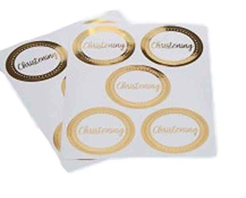 White and Gold Foil Christening Party Favor Stickers (25 ct)