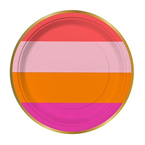 Slant Hot Pink and Orange Paper Tableware