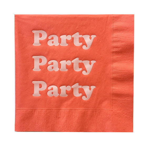 Party Party Party Orange Paper Dinner Napkins