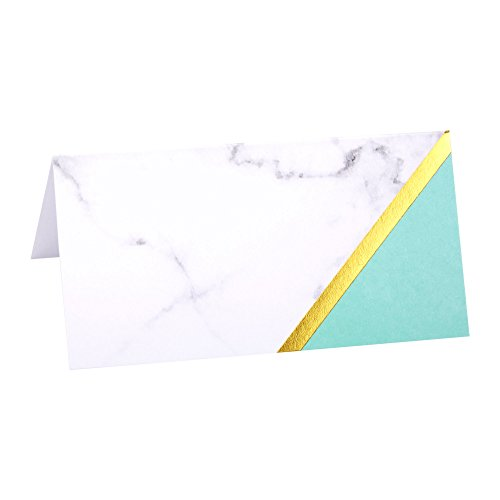 Mint Color Block and Marble Paper Place Cards