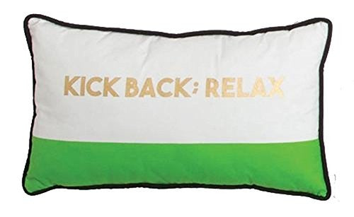 "Green White ""Kick Back; Relax"" Throw Pillow"