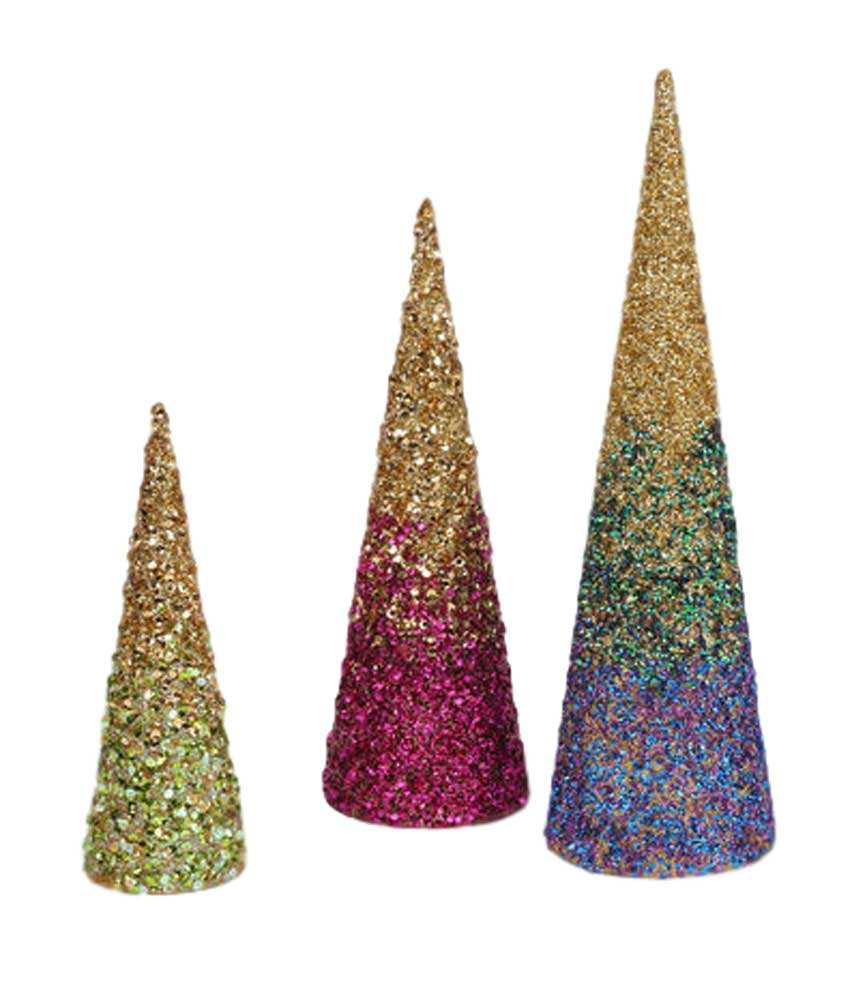 180 Degrees Sequin Tabletop Tree Set of 3