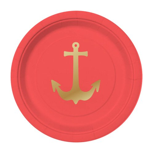 "Red and Gold Foil Anchors 5"" Paper Plates"