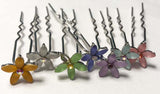 Rhinestone Flowers Hair Pins (Set/7)