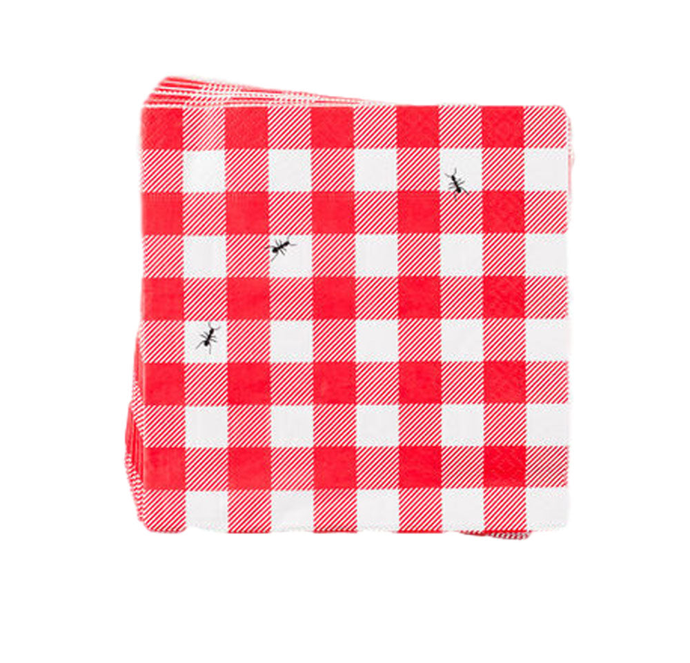 One Hundred 80 Degrees Red and White Gingham Paper Luncheon Napkins
