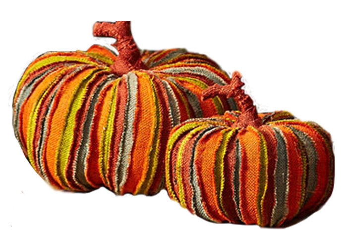 Two's Company Colorful Jute Pumpkins (Set/3)