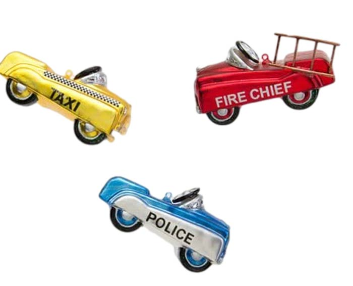 180 Degrees Pedal Cars Firetruck Taxi Police Car Glass Ornaments