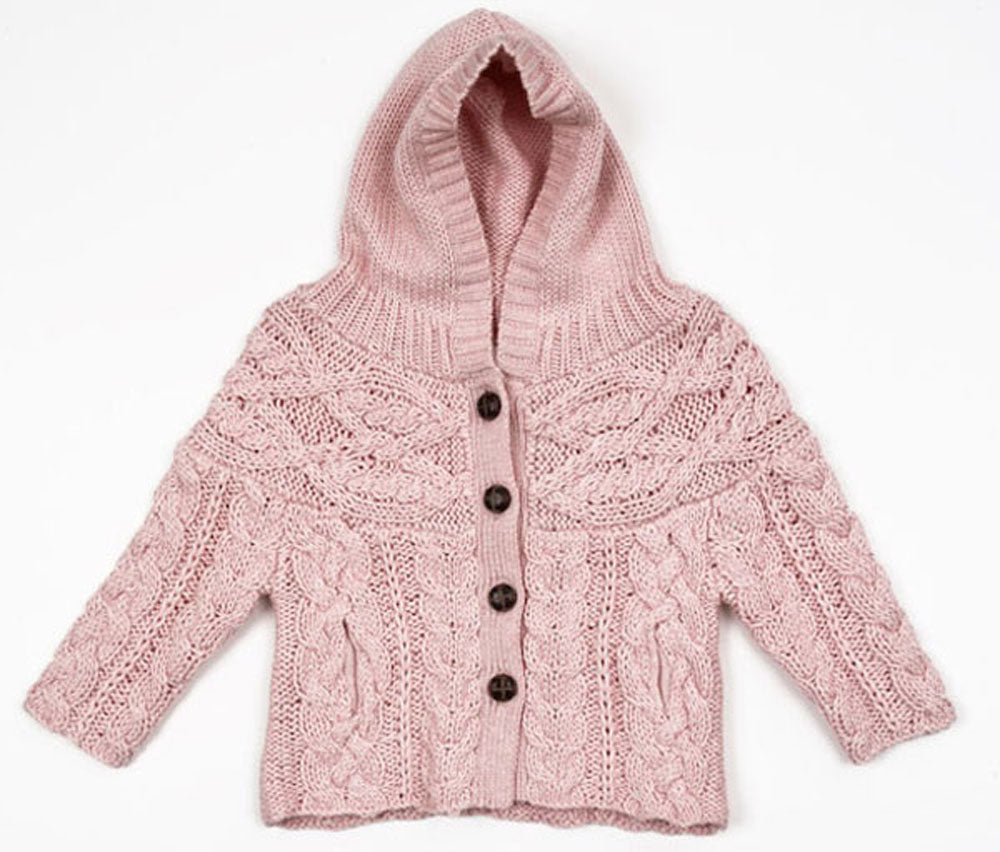 Egg Baby Pink Cable Knit Infant Cardigan 6-12 month