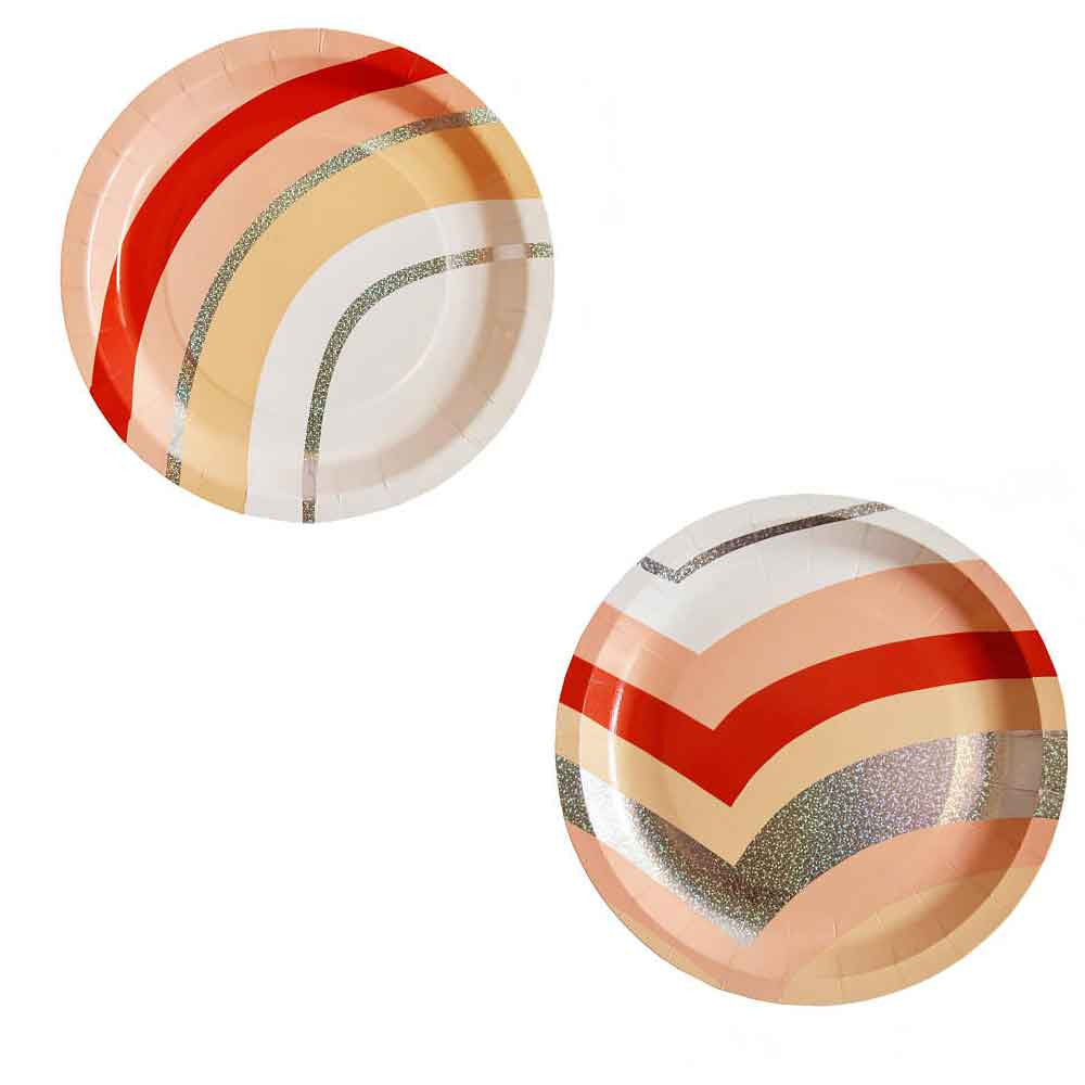 Peach and Silver Holograhic Paper Plates