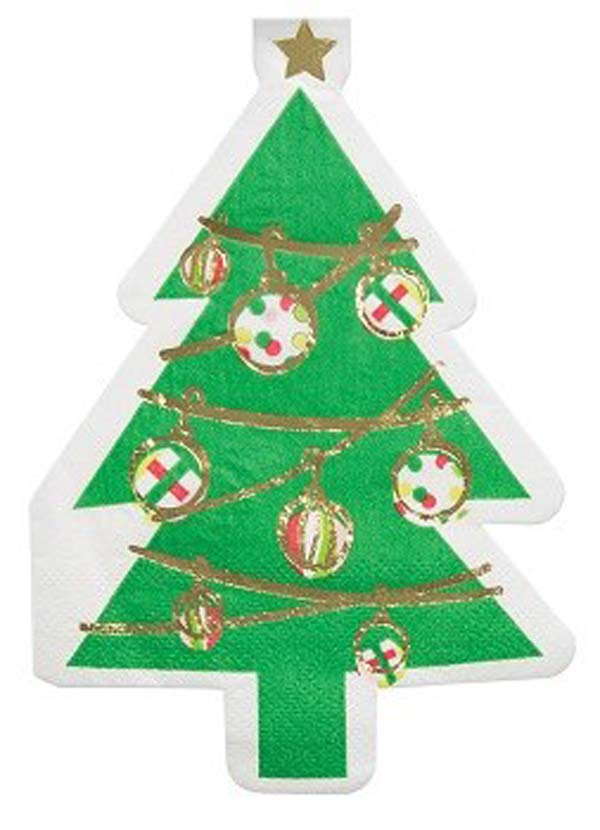 Die-Cut Christmas Tree Beverage Paper Napkins