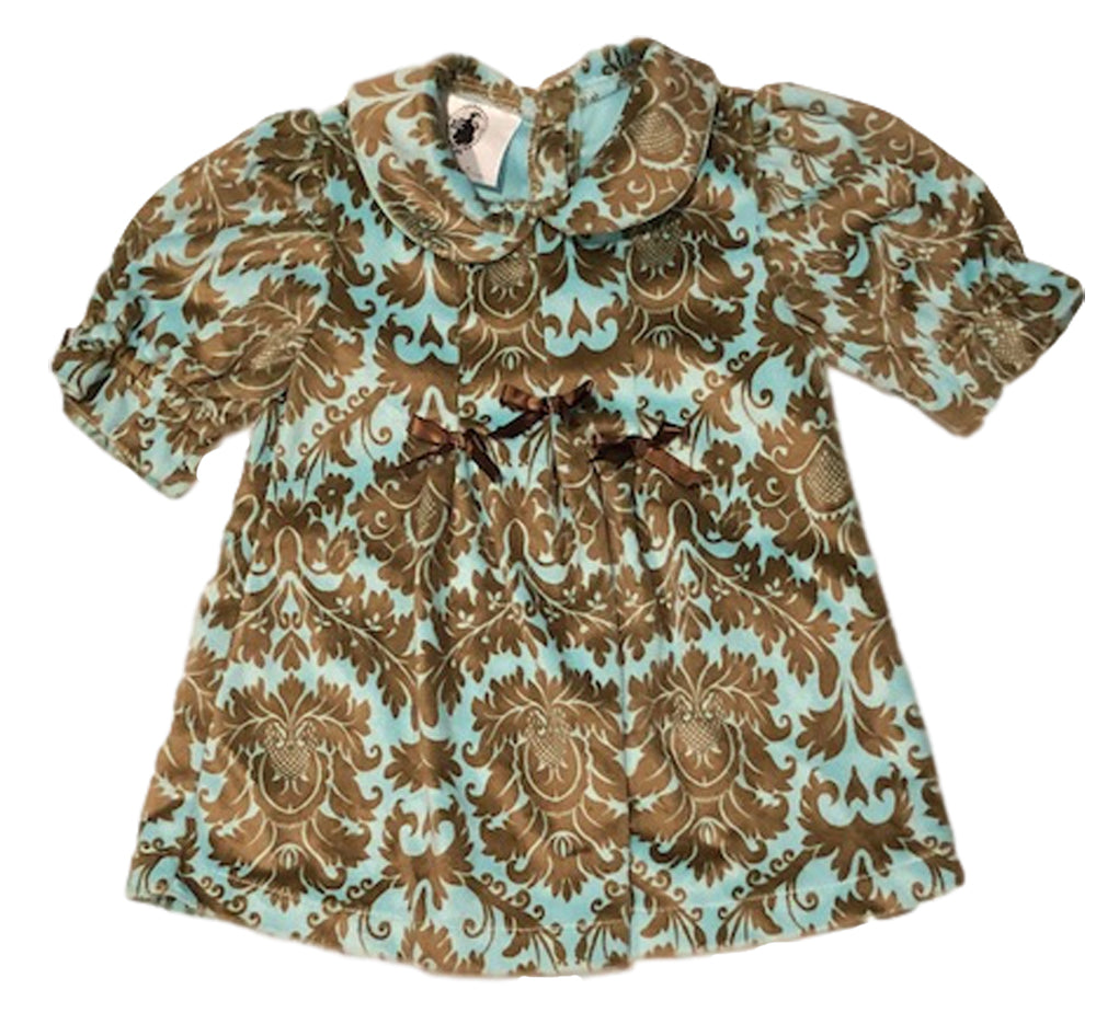 Aqua and blue paisley velour dress