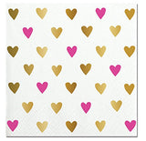 Pink and Gold Hearts Beverage Paper Napkins
