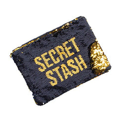 Black and Gold Sequin Secret Stash Carry-All Pouch