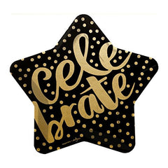 Black Gold Foil Celebrate Star Shape Dinner Paper Plates (8 ct)