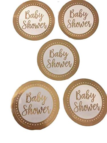 White and Gold Foil Baby Shower Party Favor Stickers (25 ct)