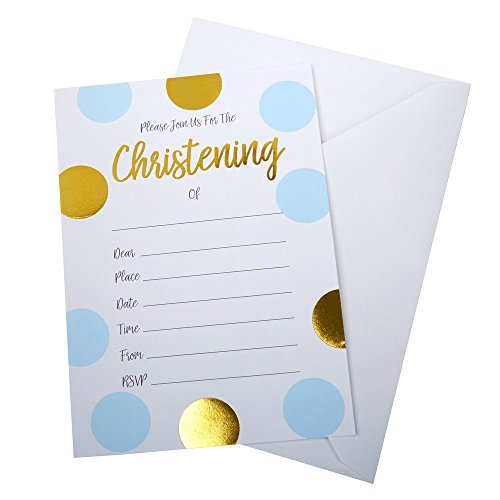 Blue and Gold Circles Pattern Christening Invitations - Boy