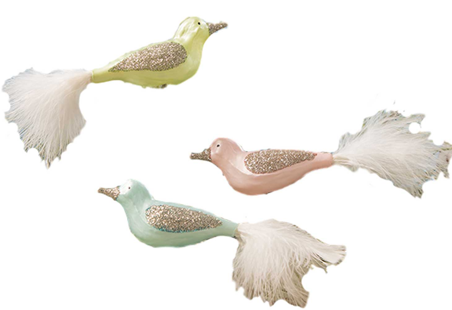 Bethany Lowe Pastel Bird Clip Ornaments Set of 3