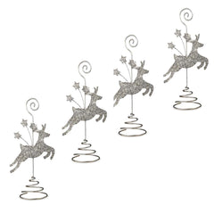 BETHANY LOWE Silver Glitter Reindeer Placecard Holders - Set of Four