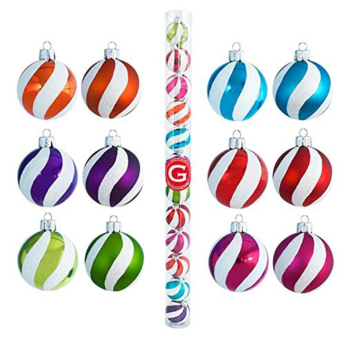 Glitterville Swirl Plastic Ball Ornaments Assorted Colors - Set of 12