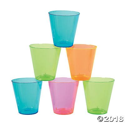 Neon Color Plastic Shot Glasses (60 ct)