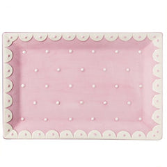 Pink and White Dots Serving Tray