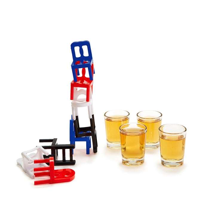 Two's Company 24 Piece Stacking Chairs Game and Shot Glasses