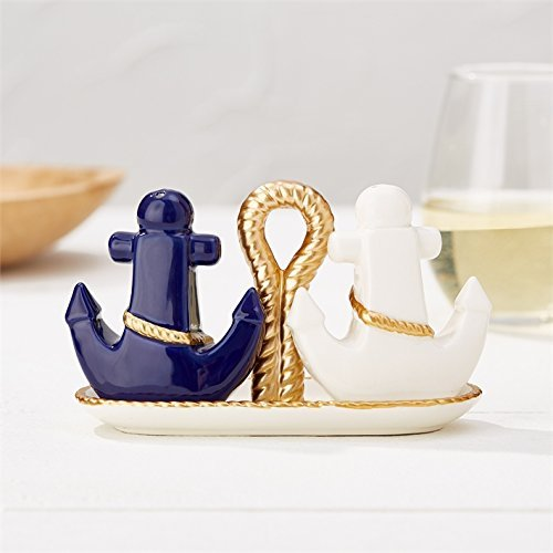 Blue and White Gold Anchor Salt and Pepper Shaker Set