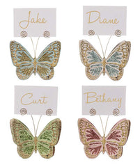 Bethany Lowe Glitter Butterfly Placecard Holder Ornament (Set/4)