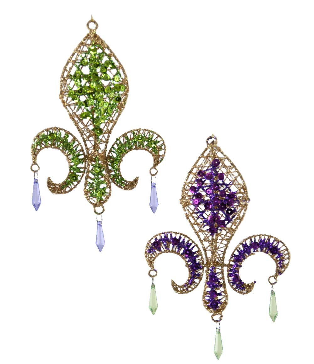 Kathrine's Collection Purple and Green Fleur de Lis Ornaments (Set/2)