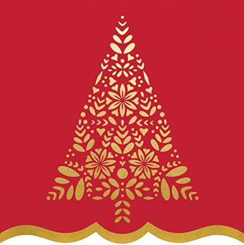 Gold Foil Christmas Tree and Red Paper Napkins