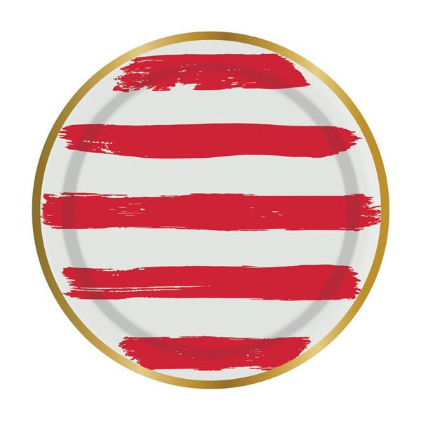 "Red and White Stripe 7"" Paper Plates"