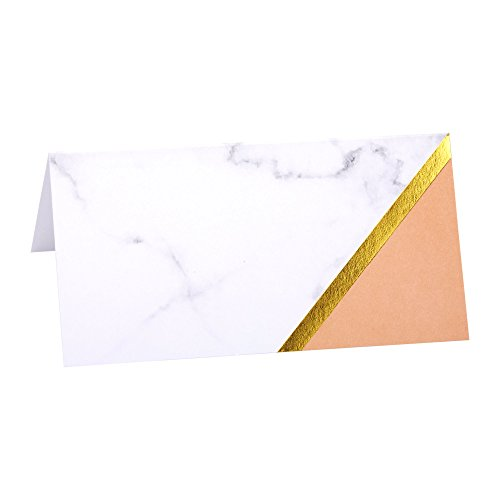 Neviti Peach Color Block and Marble Paper Place Cards