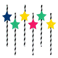 Black and White Stripe Straws with Multicolor Star Toppers