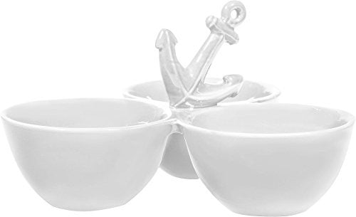 White 3 Section Serving Piece with Anchor