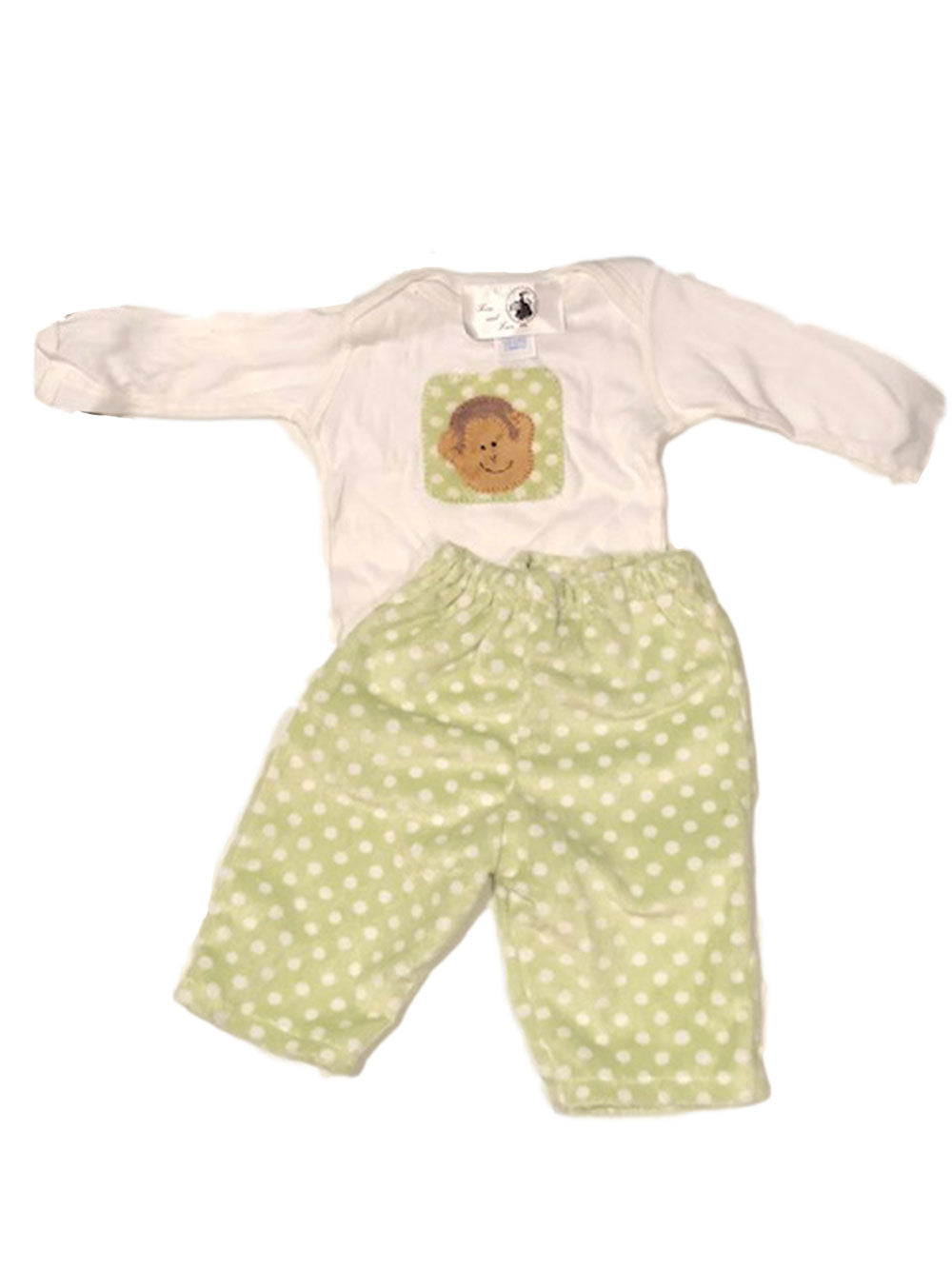 Infant Green and White Stripe Velour Pants and Monkey Tee