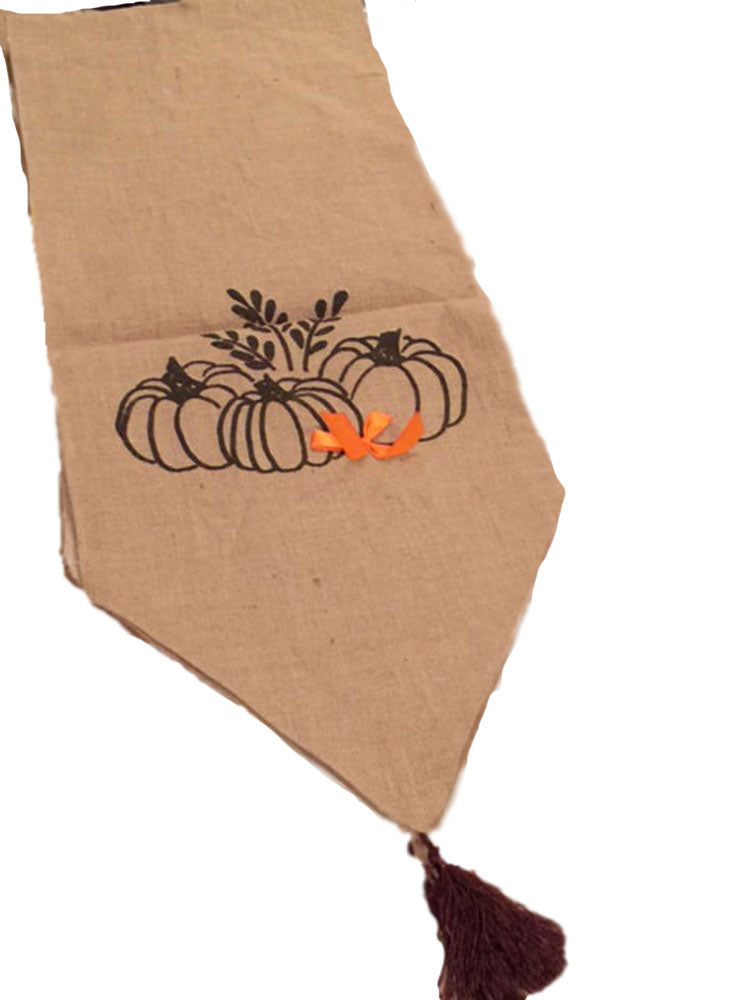 Burlap Finish Table Runner Pumpkins and Wheat Design