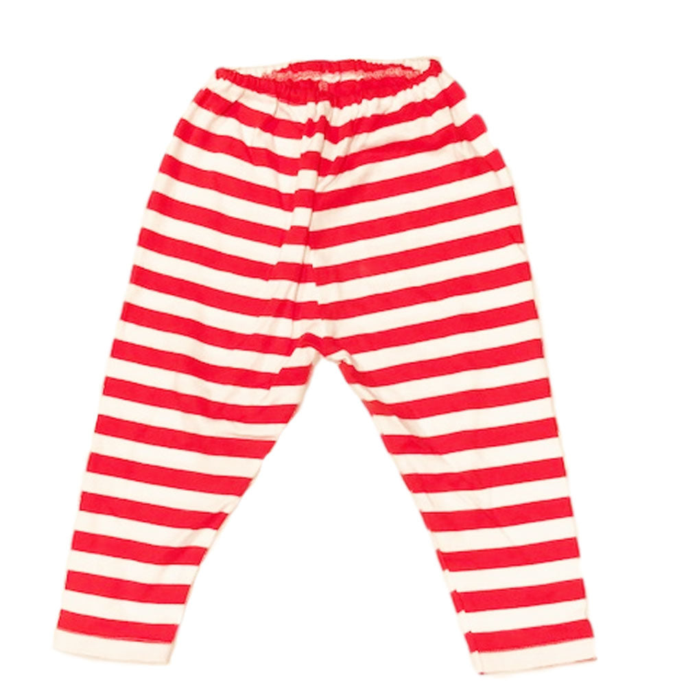 Red and White Stripe Cotton Baby Leggings