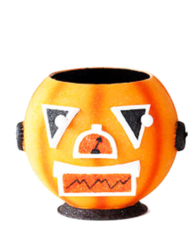 One Hundred 80 Degrees Metallic Robot Head Votive Candleholder (Orange)