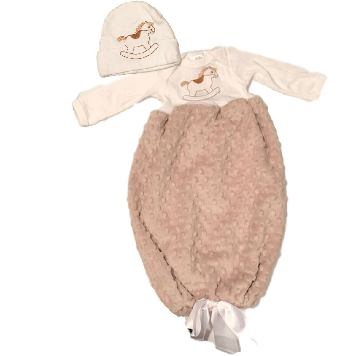 Brown Rocking Horse Infant Gown and Hat