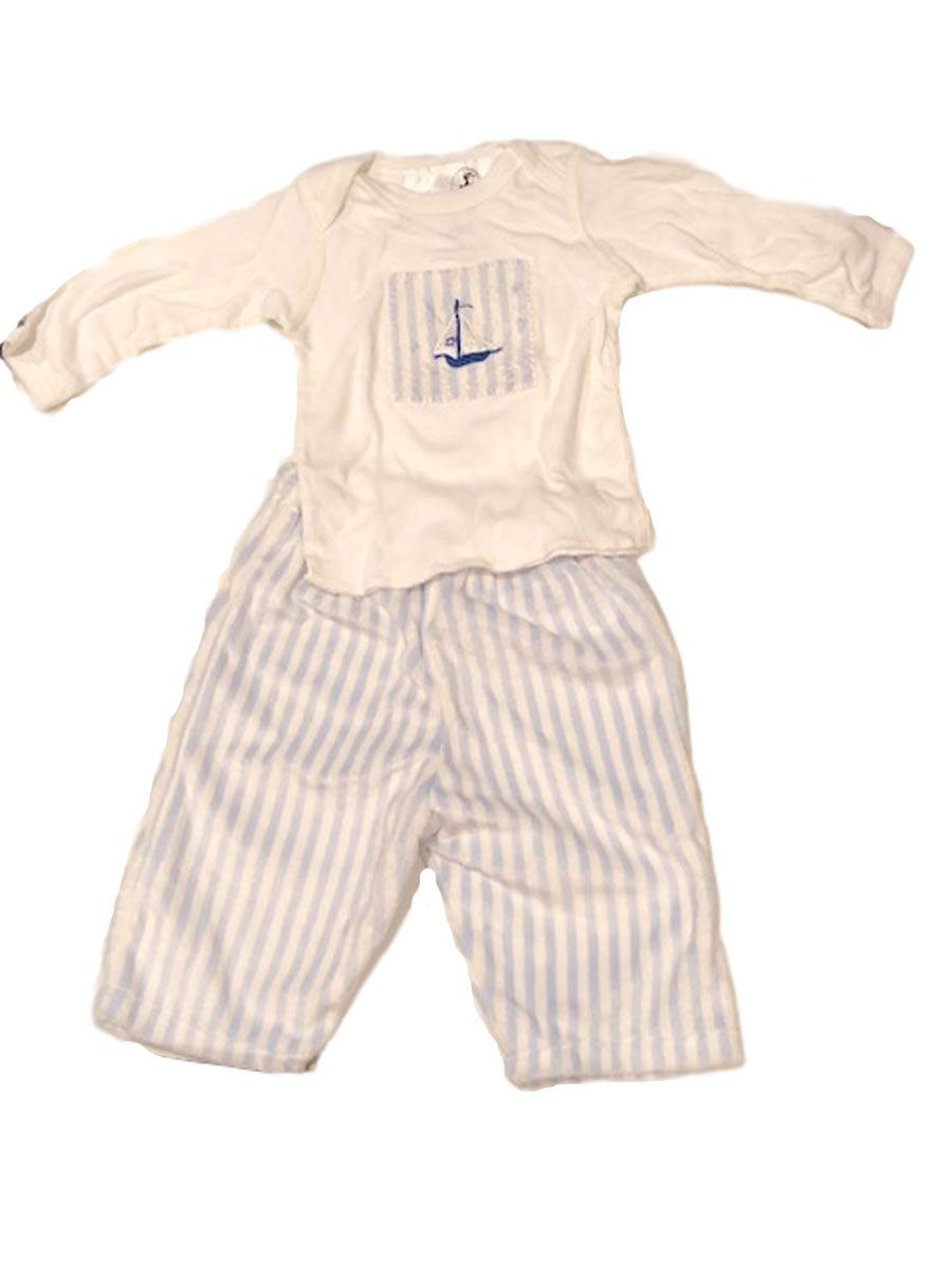 Blue and white stripe velour pants and tee
