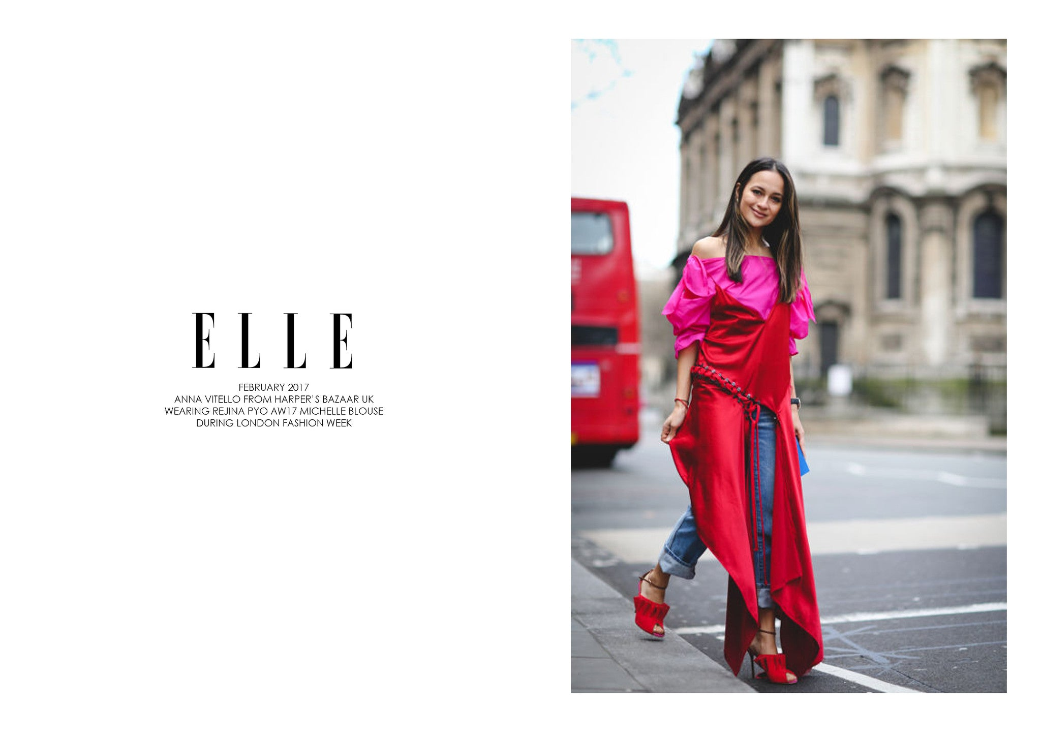 ELLE UK: FEATURING REJINA PYO AW17 MICHELLE BLOUSE DURING LFW