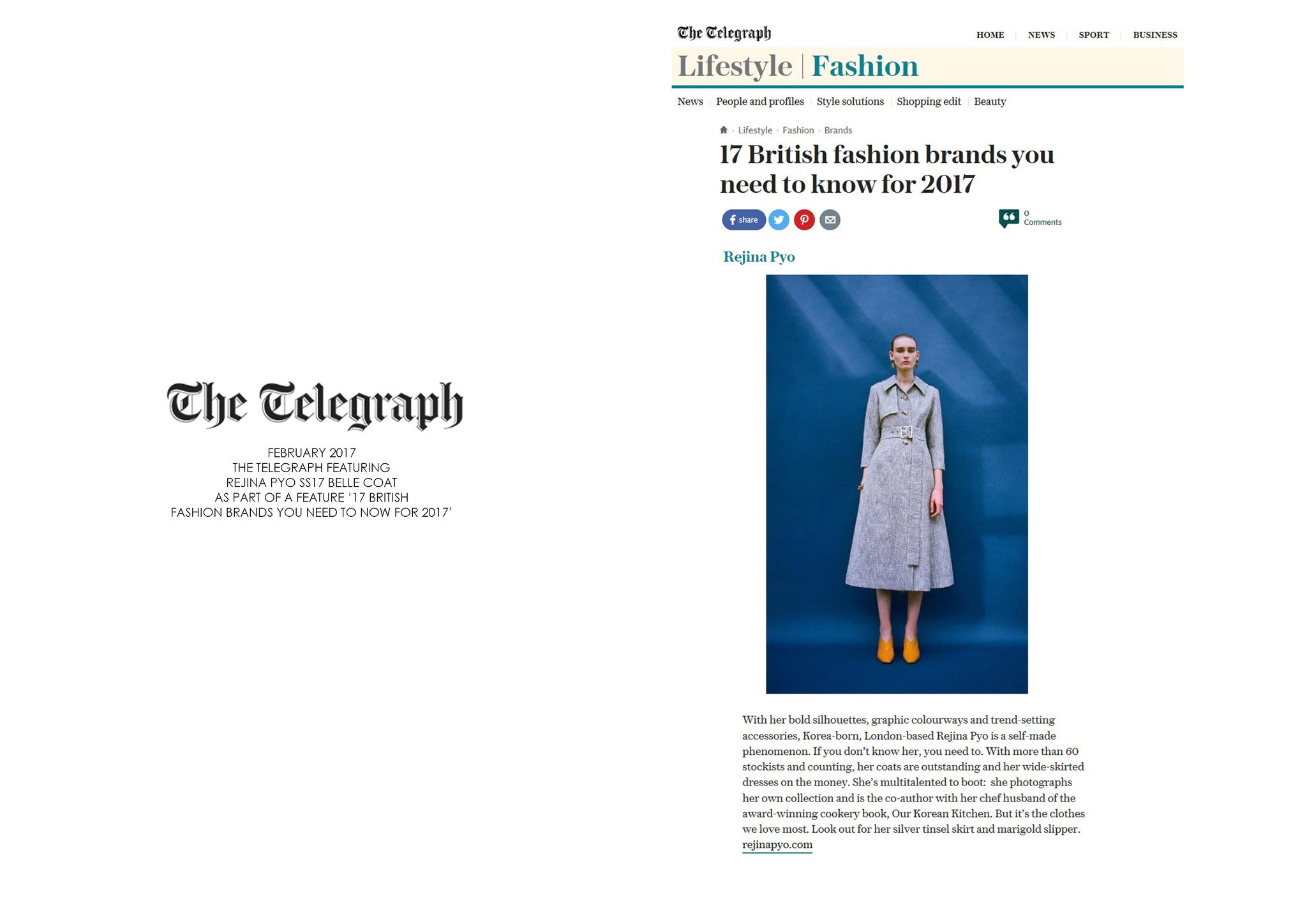 THE TELEGRAPH ONLINE: FEATURING REJINA PYO SS17 BELLE COAT AS PART OF A FASHION FEATURE
