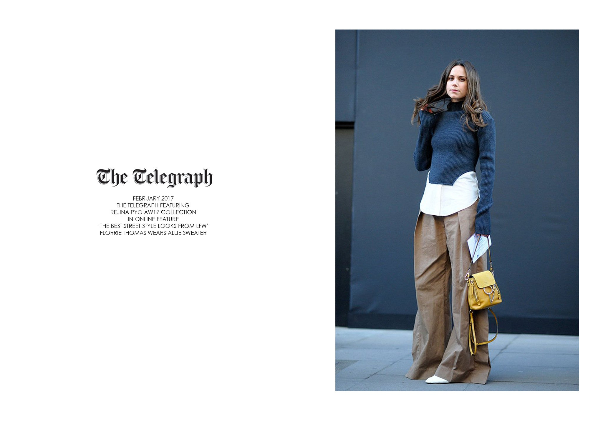 THE TELEGRAPH: FEATURING REJINA PYO AW17 COLLECTION DURING LFW
