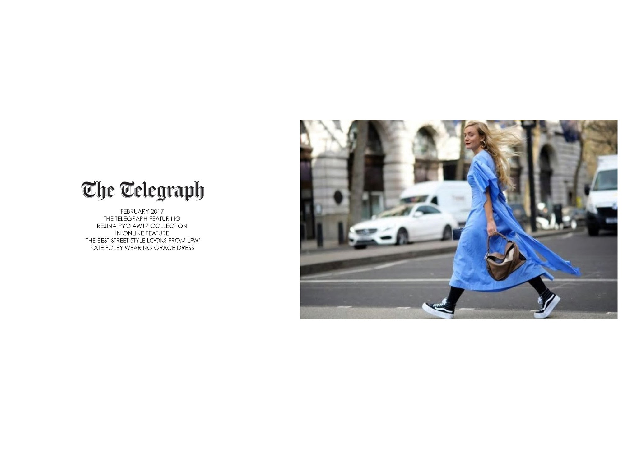 THE TELEGRAPH: FEATURING REJINA PYO AW17 GRACE DRESS DURING LFW