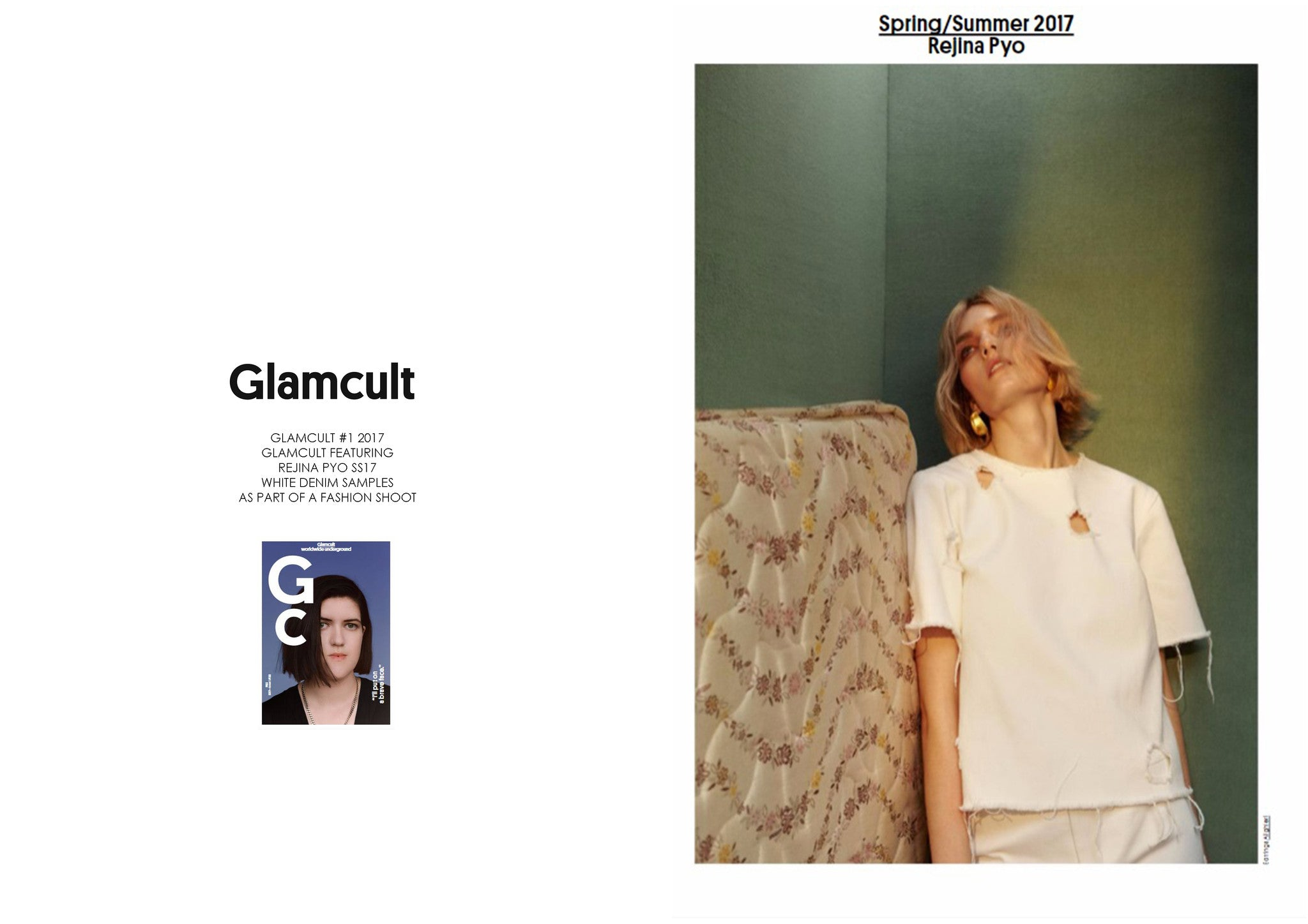 GLAMCULT #1: FEATURING REJINA PYO SS17 WHITE DENIM SAMPLES AS PART OF A FASHION SHOOT