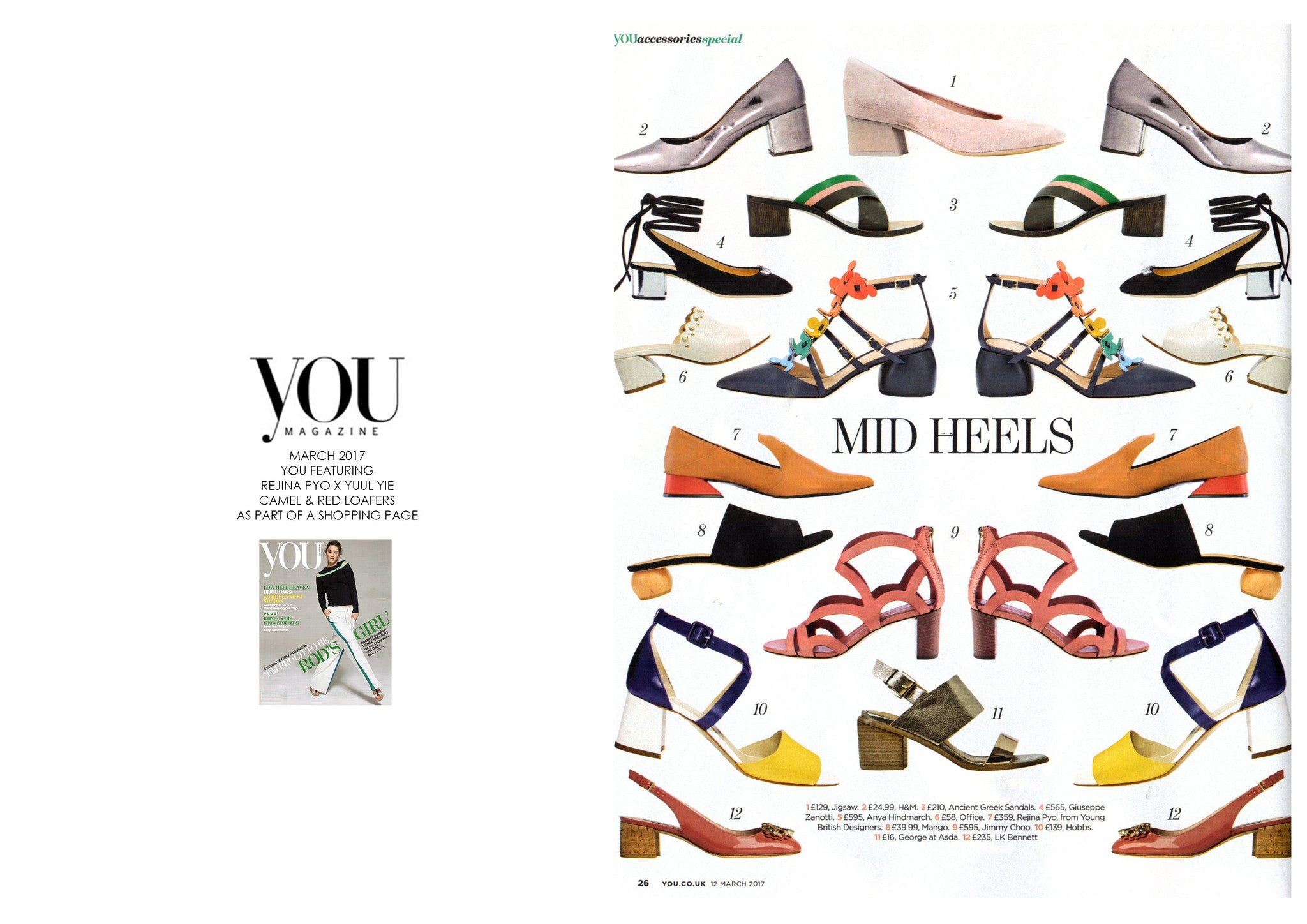 YOU MAGAZINE: FEATURING REJINA PYO X YUUL YIE / CAMEL & RED LOAFERS AS PART OF A SHOPPING PAGE
