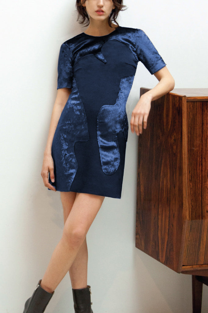 Navy Panelled Mini Dress