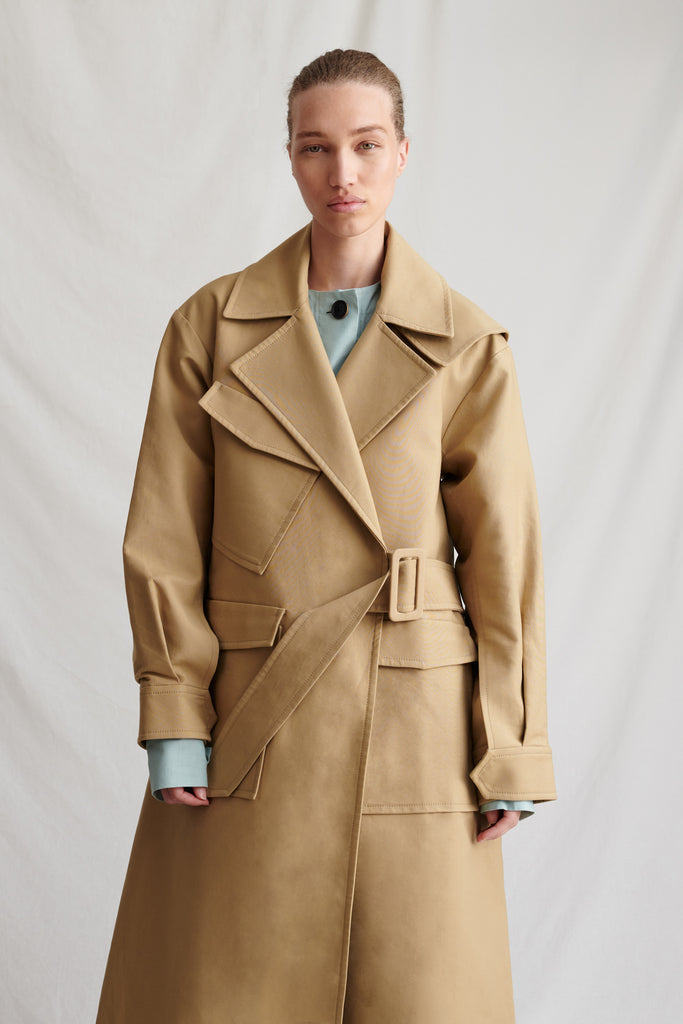 Avery Trench Cotton Beige and Sage Mix