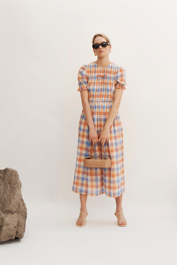 PRE-ORDER / Kristen Cotton Voile Check Multi Dress