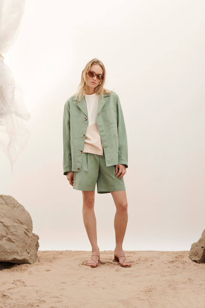 PRE-ORDER / Renee Cotton Linen  Green Shorts